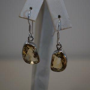 .925 Sterling Silver & Genuine Citrine Earrings